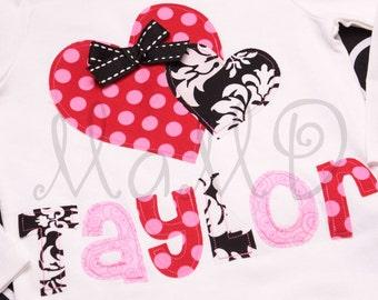 Personalized Lovie Dovie Valentine Applique Girly Tee Shirt Custom- Choose Your Fabric