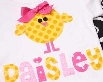 Boutique Personalized Spring Baby Chick Easter Applique Tee Shirt or Onesie