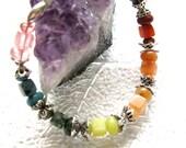 Rainbow  Semi-Precious Stone Bracelet with Silver Accents -  Festival