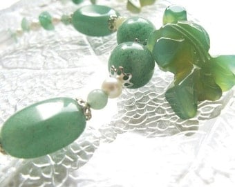 Green Goldfish Jewelry Set - Bracelet, Earrings, and Necklace - Genuine Stones