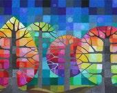 Backyard with Fireflies I art print, colourful rainbow geometric trees with handpainted details