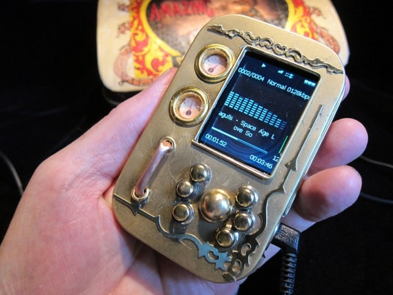 The Pocket Music Library, a Steampunk MP3/video player