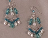 Sterling Silver Chandelier Earrings with Pearls and Swarovski Crystals in Shades of White, Teal, and Aqua Blue