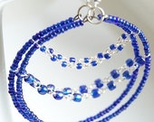 Dark Blue Glass Covered Hoops Earrings