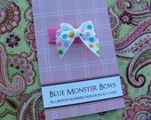 ONE DOLLAR CLIP White with Colorful Dots Mini Baby Bow Snap Clip