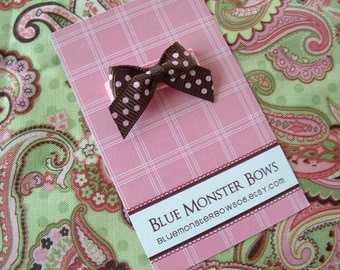 ONE DOLLAR CLIP Brown with Pink Swiss Dots Mini Baby Bow Snap Clip