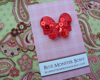ONE DOLLAR CLIP Red Glitter Butterfly Baby Snap Clip