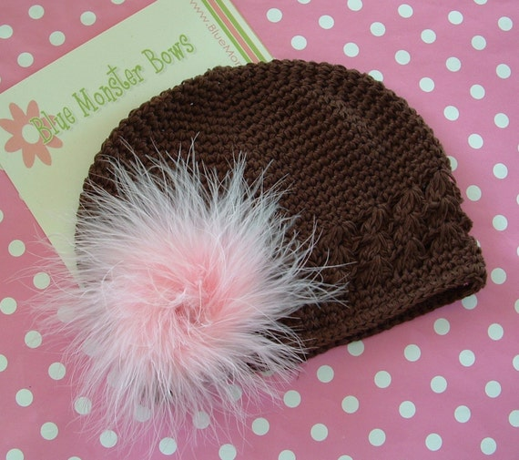 FREE SHIPPING FOR A LIMITED TIME...Light Pink Marabou Hair Puff and Brown Crochet Knit Beanie Hat