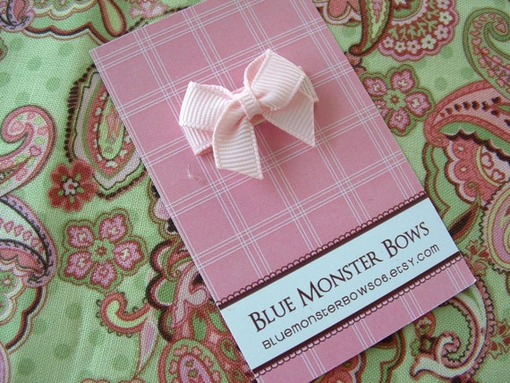 ONE DOLLAR CLIP Light Pink Mini Bow Baby Snap Clip No Slip
