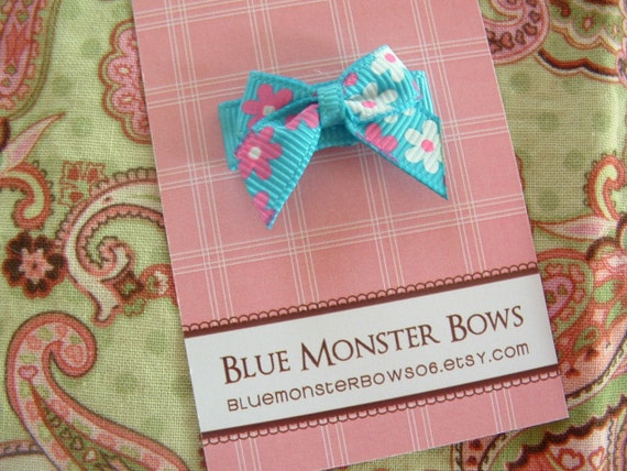ONE DOLLAR CLIP Turquoise Flower Mini Baby Bow Snap Clip No Slip
