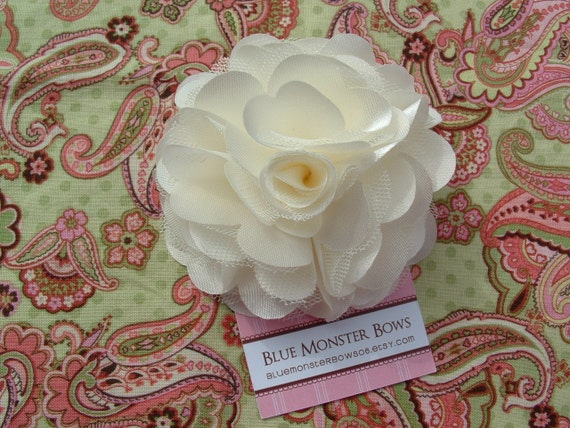 Megan Ivory Satin and Tulle Flower Hair Clip