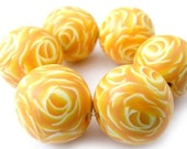Polymer Clay Round Beads with Honey Yellow Roses