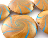 Focal Beads Swirl Beads Polymer Clay Lentil in Gold And Turquoise Strips  - Set of  5(B)