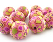 Polymer Clay Beads with Retro Pattern in Wassabi Green and Pink - Set of 10