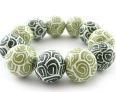 Polymer Clay Beads with Retro Pattern in 2 Shades Of Green - Set of 10