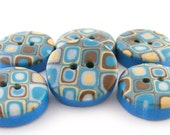 Polymer Clay Buttons Retro Pattern in Turquoise and Ecru - Set of 6