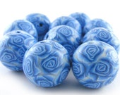 Polymer Clay Beads With Azure Blue Rose - Set of 10