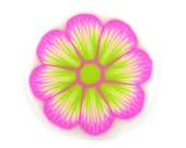 Fimo Cane Polymer Clay Cane Millefiori Magenta And Lime Green Flower Cane