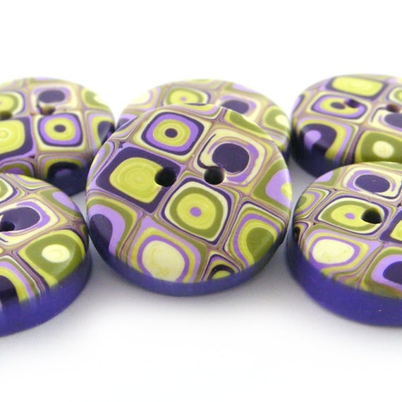 Polymer Clay Buttons Retro Pattern in Wassabi Green and Purple - Set of 6