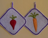 Pair of potholders made from recycled felted wool with appliqued veggies