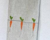 Hand Towel, Hand Appliqued, Carrots on Natural Linen