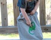 Big Adventure Tote, Dinosaur on Recycled Hemp and Organic Cotton