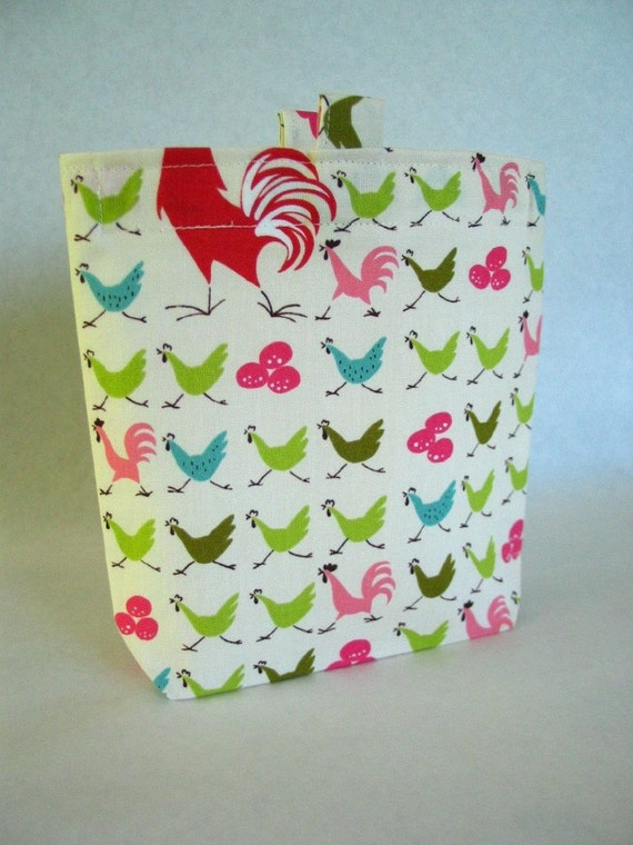 Reusable Sandwich Bag, Running Roosters