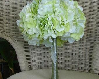 Hydrangea wedding bouquet in line green, bridal bouquet