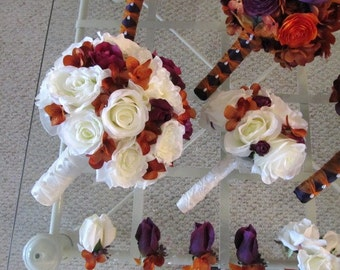 Silk purple and rust in white rose silk wedding bouquet, bridal bouquet