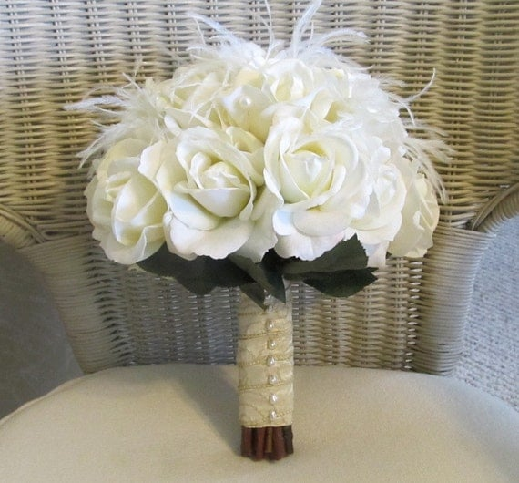 Diy Feather Bouquets Weddings: Items Similar To Ivory Wedding Bouquet