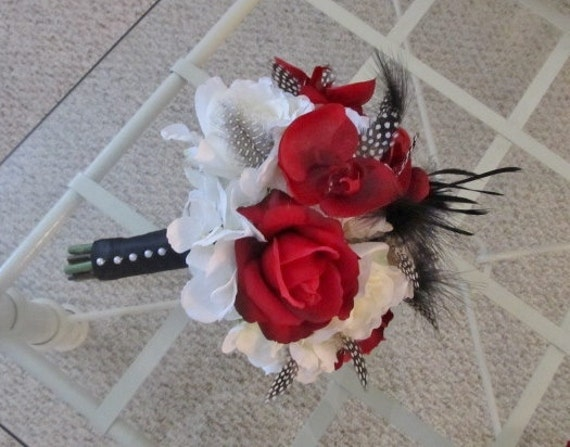 Wedding bouquet with red and white rose and real touch orchids, bridal bouquet