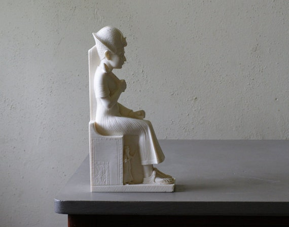 Vintage Egyptian Statuette Made in Italy of a Stone Composite, Industrial Decor, Bookend, Figurine, White