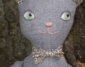 The Cat's Meow - Handcrafted wool  cat doll with cute bow tie