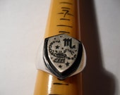 Vintage Sterling Silver Astrology Zodiac Ring. Scorpio. Size 8.5.
