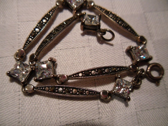 Vintage Marcasite and Crystal / Rhinestone Sterling Silver Bracelet. Shiney and Bright.