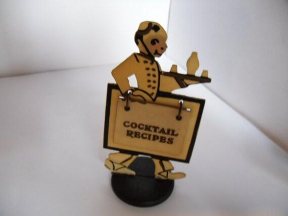 Figural Art Deco Bell Hop Waiter Cocktail Recipe Booklet. Celluloid. 1930s.