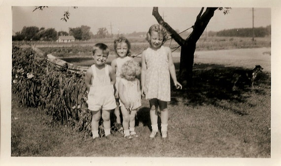 Great Vintage Photos of Children. Circa 1940s. Wagons, Bike, Play Pen.