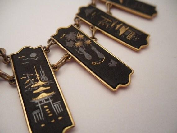 Japanese  Shakudo Damascene Necklace. 24 Karat Gold Accents. 1950s Japan.