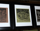 Set of Three Moth Woodcut Prints