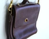 SALE Brown Leather Brass Purse