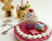 Cupcake Necklace -polymer clay fimo fake cupcake Pendant alice in wonderland with spoon Charm white frosting great for katy perry costume