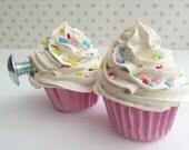 DRAWER PULLS  fake cupcake set of 2 cabinet pull drawer knobs (kitchen,bakery,girls room, coffee shop) white icing