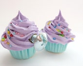 DECORATIVE KNOBS fake cupcake Door knobs set of 2 kitchen knobs drawer knobs (kitchen,bakery,girls room, coffee shop) purple icing