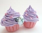 KNOBS fake cupcake kitchen knobs set of 2 cabinet knobs drawer knobs (kitchen,bakery,girls room, coffee shop) purple icing