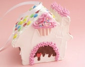 Gingerbread House Christmas ornament for Christmas Tree Decoration candy land Theme frosted house with fake cupcake sugar cookie candy cane