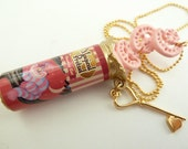 Alice In Wonderland Necklace with gold key charm great for theme tea party