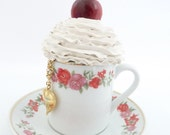 Sale - Jewelry Box, Fake Cupcake, alice in  wonderland, tea party decoration, tea cup and saucer ,vintage cup , white Icing