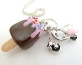 Summer necklace - Popsicle Necklace Polymer Clay fimo fake Popsicle and scooter Charm girls birthday favors party