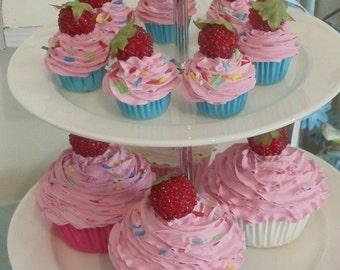 katy perry FAKE CUPCAKE - ornament cupcake ,magnet cupcake ,car mirror charm cupcake  ,christmas ornament cupcake , pink Icing mini size