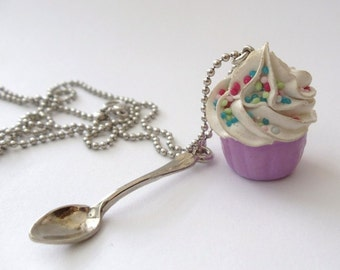 Fake Cupcake necklace and small spoon Charm alice in wonderland with silver ball chain white frosting unique gifts for girls birthday party